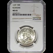 1937 Ngc MS65 Roanoke Half Dollar