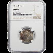 1912-S Ngc MS64 Liberty Nickel