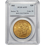 1861 Pcgs AU53 $20 Liberty Head Gold
