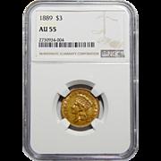 1889 Ngc AU55 $3 Gold