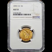 1892-CC Ngc AU53 $5 Liberty Head Gold