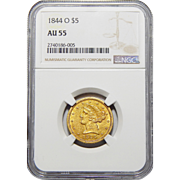 1844-O Ngc AU55 $5 Liberty Head Gold