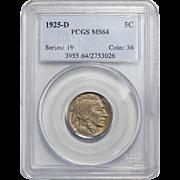 1925-D Pcgs MS64 Buffalo Nickel