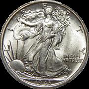 1943 Pcgs MS64 Walking Liberty Half Dollar