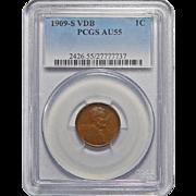 1909-S VDB Pcgs AU55BN Lincoln Wheat Cent