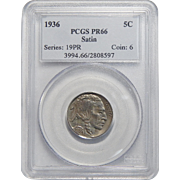 1936 Pcgs Satin PR66 Buffalo Nickel