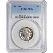 1935-D Pcgs MS63 Buffalo Nickel