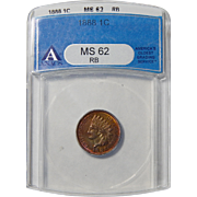 1888 Anacs MS62RB Indian Head Cent