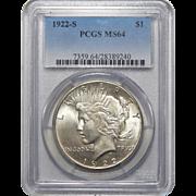 1922-S Pcgs MS64 Peace Dollar