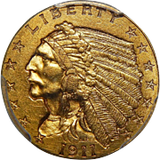 1911-D Pcgs Genuine, Unc. Details $2.50 Strong D Indian Gold