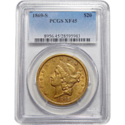 1869-S Pcgs XF45 $20 Liberty Head Gold