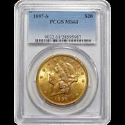 1897-S Pcgs MS61 $20 Liberty Head Gold