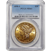 1898-S Pcgs MS61 $20 Liberty Head Gold