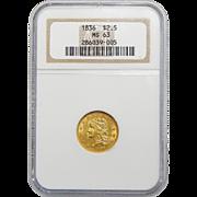 1836 Ngc MS63 Block 8 $2.50 Classic Head Gold