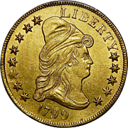 1799 Pcgs Unc. Details, Tooled $10 Small Stars Obverse Draped Bust Gold