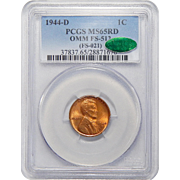 1944-D Pcgs/Cac MS65RD OMM FS-512 (021) Lincoln Wheat Cent