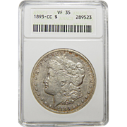 1893-CC Anacs VF35 Morgan Dollar