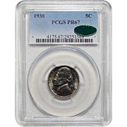 1938 Pcgs/Cac PR67 Jefferson Nickel