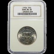 1936 Ngc MS65 York Half Dollar