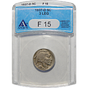1937-D 3 Legs Anacs F15 Buffalo Nickel