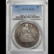 1871 Pcgs AU53 Seated Liberty Dollar
