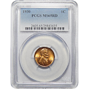 1930 Pcgs MS65RD Lincoln Wheat Cent