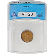 1931-S Anacs VF20BN Lincoln Wheat Cent