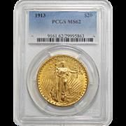 1913 Pcgs MS62 $20 St. Gaudens Gold