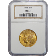 1915 Ngc MS61 $10 Indian Gold