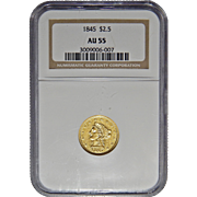 1845 Ngc AU55 $2.50 Liberty Head Gold