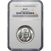 1947-S Ngc MS64 Booker T. Washington Half Dollar Commemorative