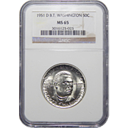 1951-D Ngc MS65 Booker T. Washington Half Dollar Commemorative