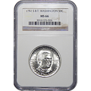 1951-S Ngc MS66 Booker T. Washington Half Dollar Commemorative