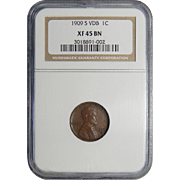 1909-S VDB Ngc XF45BN Lincoln Wheat Cent