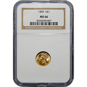 1889 Ngc MS66 $1 Gold