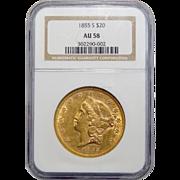 1855-S Ngc AU58 $20 Liberty Head Gold