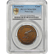 Kentucky Plain Edge Pcgs MS63BN Cent