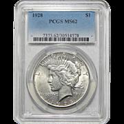 1928 Pcgs MS62 Peace Dollar