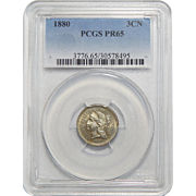 1880 Pcgs PR65 Three-Cent Copper Nickel