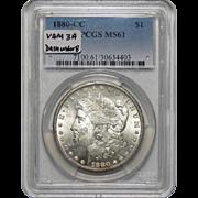 1880-CC Pcgs MS61 Vam-3A (Dash Under 8) Morgan Dollar