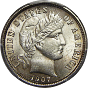 1907 Pcgs/Cac MS63 Barber Dime