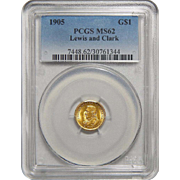 1905 Pcgs MS62 $1 Lewis and Clark Gold