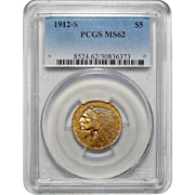 1912-S Pcgs MS62 $5 Indian Gold