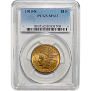 1910-S Pcgs MS62 $10 Indian Gold