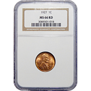 1927 Ngc MS66RD Lincoln Wheat Cent