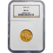 1878 Ngc MS65 $3 Gold