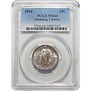 1916 Pcgs MS64 Standing Liberty Quarter