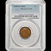 1909-S VDB Pcgs VF25BN Lincoln Wheat Cent
