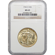 1942-D Ngc MS65 Walking Liberty Half Dollar
