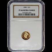 1886 Ngc PR66DCAM One Dollar Gold